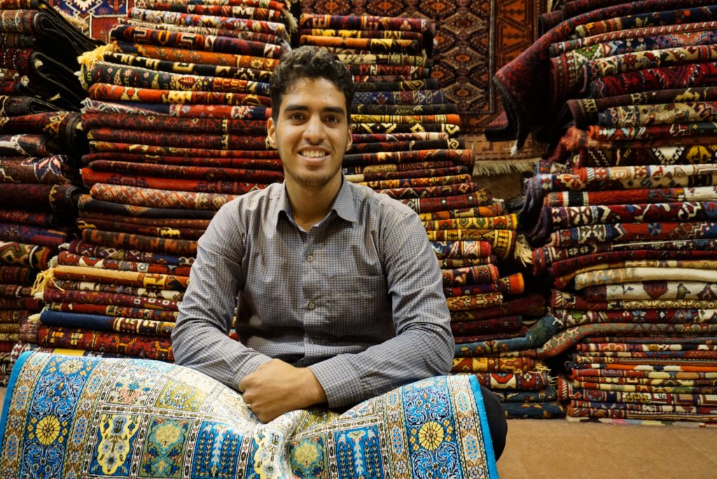 Ali, a carpet seller in the Bazaar, Isfahan, Iran