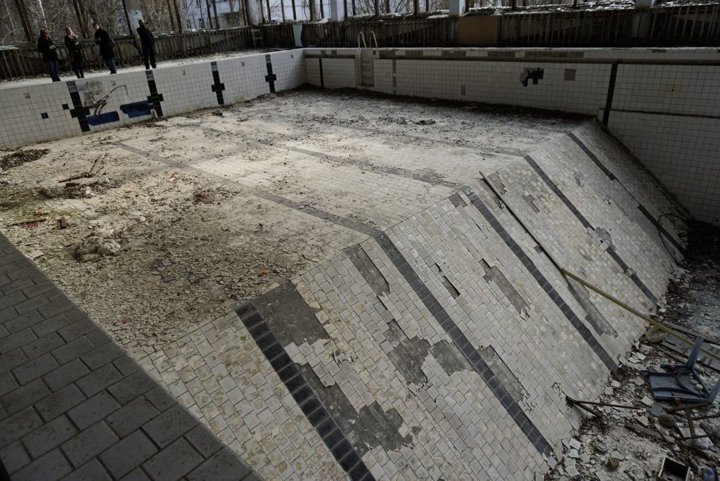Azure swimming pool Pripyat Chernobyl Ukraine