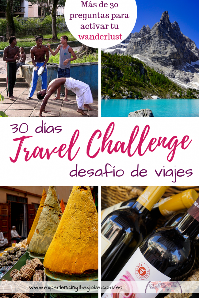 ¿Quieres inspiración para ver el mundo? ¿O revivir tus propias aventuras? Acepta el travel challenge! Recibirás 30+ preguntas para alimentar tu wanderlust! #TravelChallenge #DesafioDeViajes #Wanderlust #BucketList