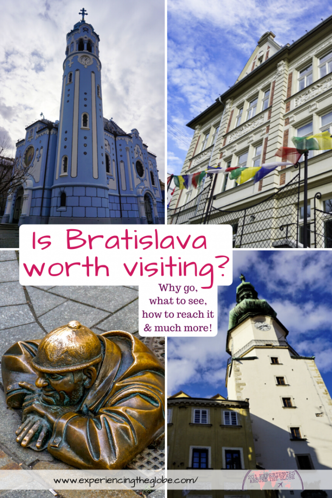 """Travelers in Vienna, Prague or Budapest often ask """"is Bratislava worth visiting?"""", and I only reply with one word: absolutely! Gorgeous architecture and no crowds, it doesn't get better! – Experiencing the Globe #Bratislava #Slovakia #TravelPhotography #IndependentTravel #SoloFemaleTravel #BucketList #Architecture #ArtNoveau #Brutalism #ManAtWork #SchoneNaci #Petržalka #UFObridge #BlueChurch"""