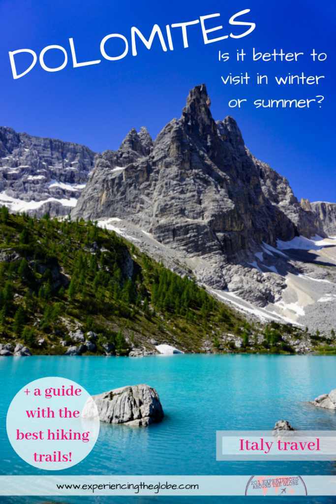 When is the best time to visit the Dolomites, winter or summer? No matter if your looking to ski in the Alps or for the best hikes, Cortina d'Ampezzo is the place to go #Dolomites #Veneto #Italy #Mountains #Hiking #Skiing #BeautifulDestinations #DolomiteTravelTips