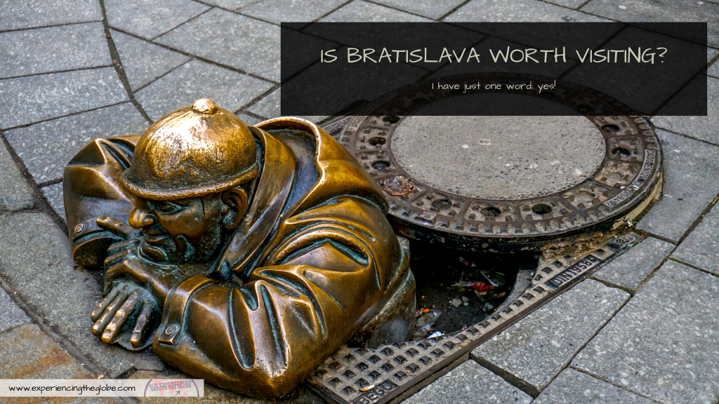 "Travelers in Vienna, Prague or Budapest often ask ""is Bratislava worth visiting?"", and I only reply with one word: absolutely! Gorgeous architecture and no crowds, it doesn't get better! – Experiencing the Globe #Bratislava #Slovakia #TravelPhotography #IndependentTravel #SoloFemaleTravel #BucketList #Architecture #ArtNoveau #Brutalism #ManAtWork #SchoneNaci #Petrzalka #UFObridge #BlueChurch"