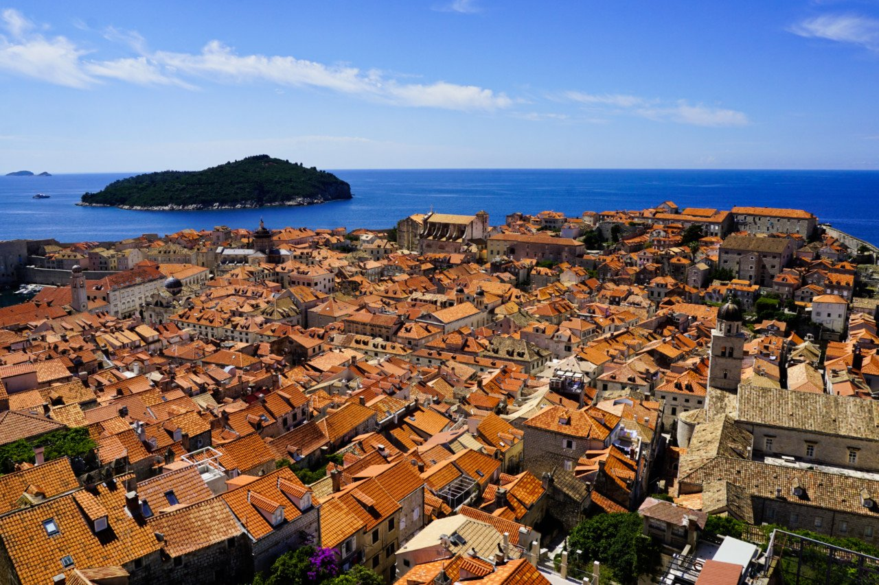 Old Town and Lokrum island from the City Walls, Dubrovnik, Croatia - Experiencing the Globe