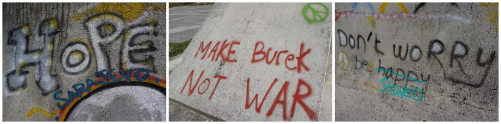 Street art, Winter Olympic ruins, Sarajevo, Bosnia and Herzegovina