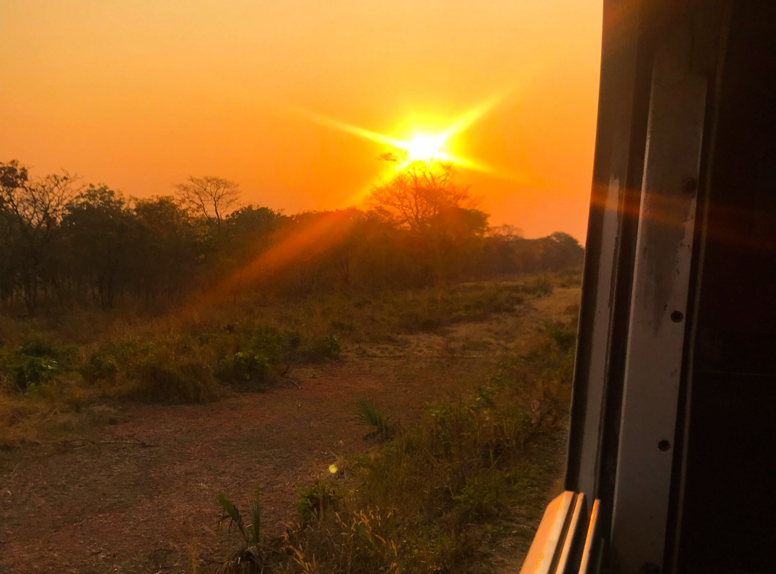 Sunset from the railway, Central Line train, Kigoma to Dar es Salaam, Tanzania - Experiencing the Globe